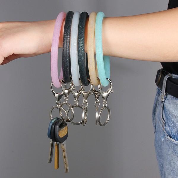 Popular Sequin Silicone O Key Chain Circle Wristlet Multiful Key Ring Wrist Strap Bracelet with Keychain Bangle Kimter