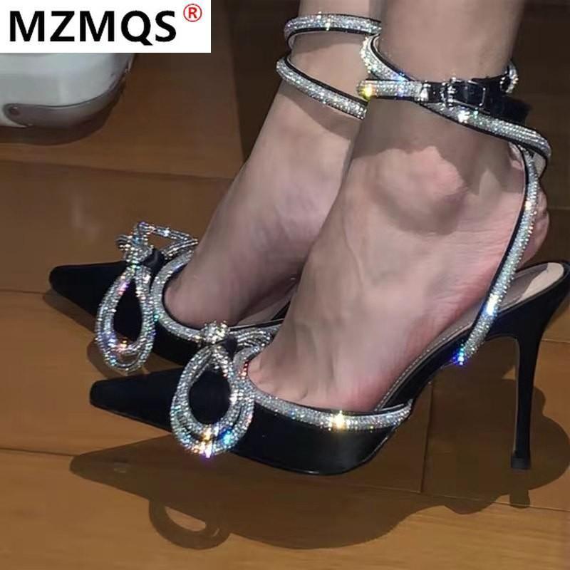 2021 сандалии женские заостренные носки прозрачные хрустальные шпильки сексуальные сандалии высокие каблуки летние женские туфли рыбийшей обувь женщина