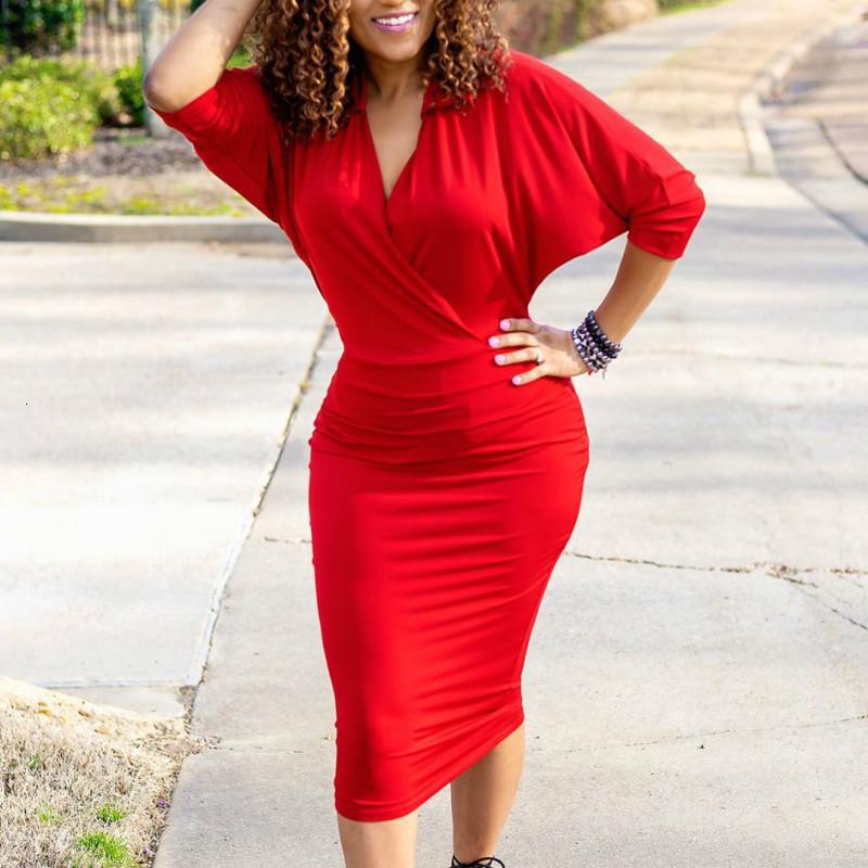 2021 Новые Женщины ES V Шеи Эластичный Пакет Бедра Элегантные Офисные Дамы Рабочая одежда Скромные Женские Стильные Большие Размер Африканский Vestidos Летний OV1U