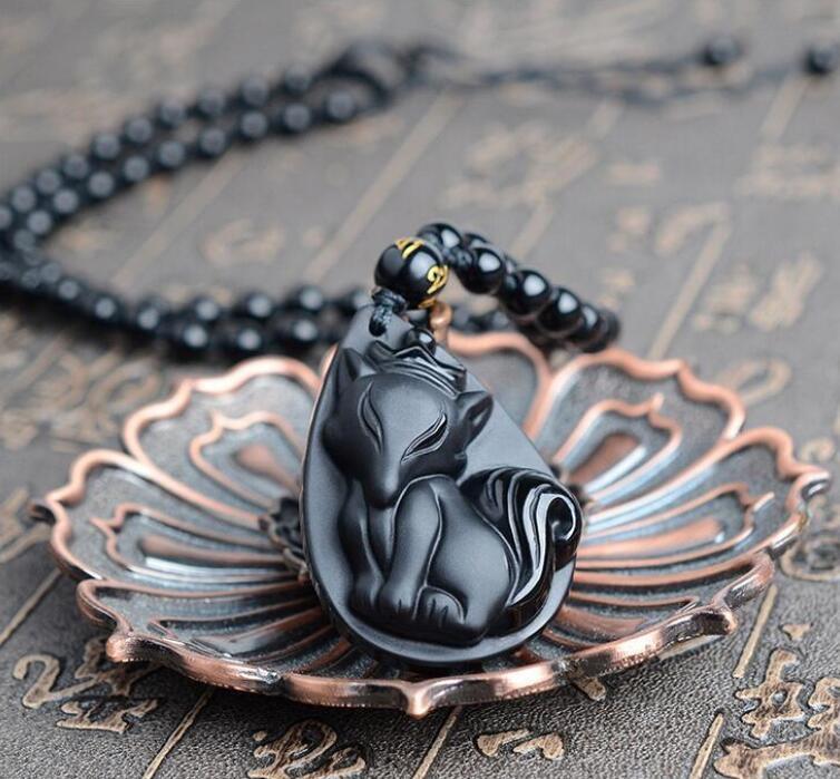 Casa Joyería Collares Colgantes Colgantes Collares Producto Detalle Creativo Natural Obsidian Icy Fox Colgante Ladies Crown SPI