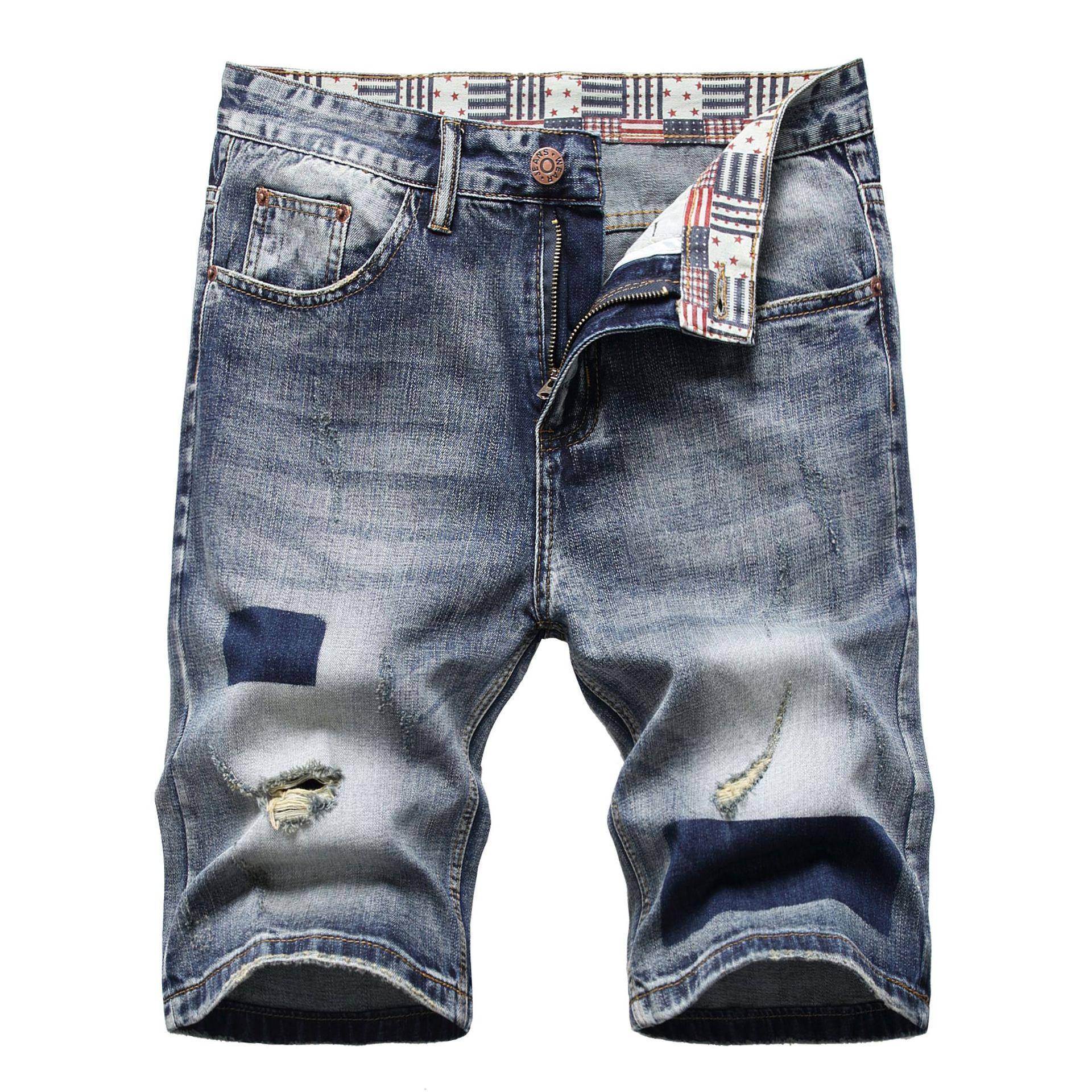 Hombres diseñador impreso Pantalones cortos de mezclilla Pollado de verano Tamaño grande Casual Romada casual Agujeros angustiados para hombre Jeans Slim Fit Men's Shorts Pantalones D663