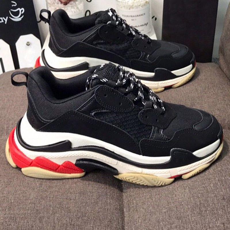 Top Qualité Chaussures Casual Hommes Femme Sneakers Fashion Blanc Black Vintage Vieux De Extérieur Grand-père Triple S. Triple 36-45