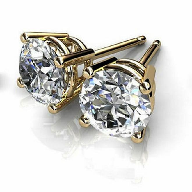 1.3 CT VVS1 / D Corte Redonda Pregos Solitaire Water Brincos De Diamante 14k Ouro Amarelo Sólido Enchido
