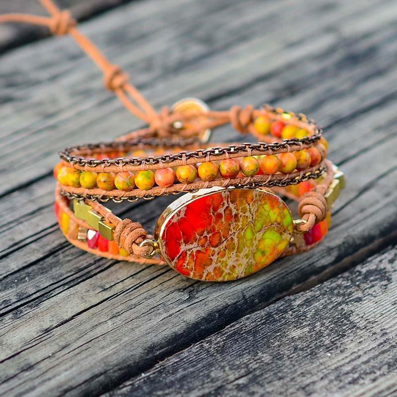 Теннис большой кулон каменный браслет Богемия кожа 3 слои обернуть браслеты для женщин ювелирные изделия