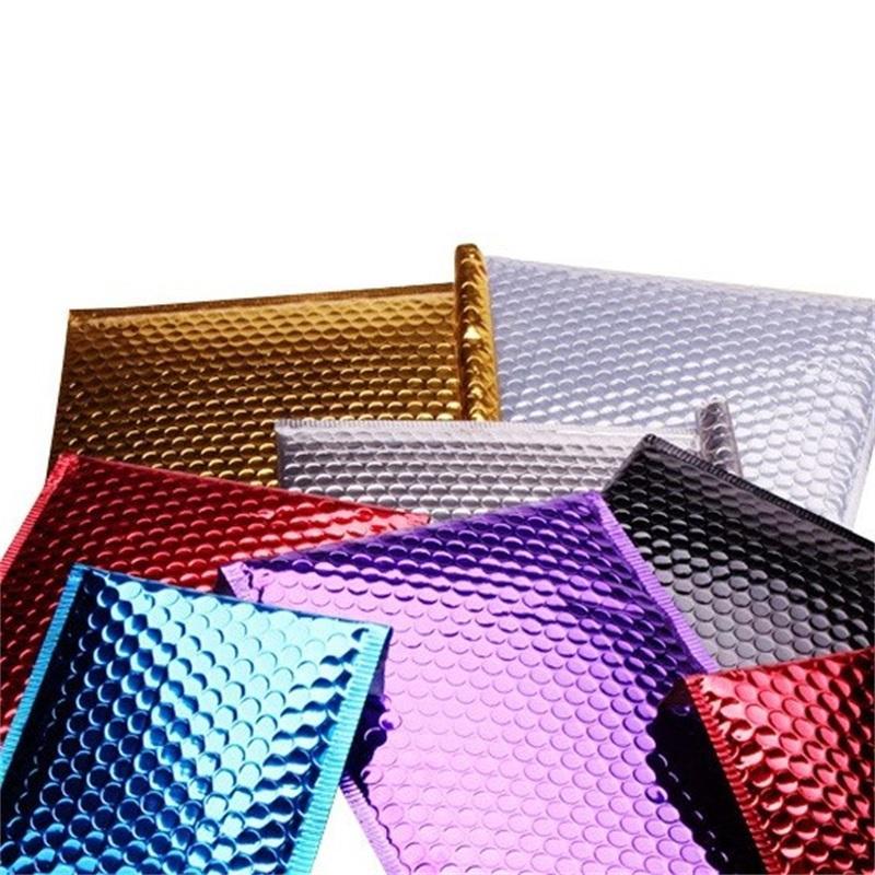 100pcs 15 * 13 cm Petite feuille d'or aluminisée d'or Métallique Bubble Mailer Expédition Bubble rembourré Enveloppes Gold Cadeau Emballage Sac 620 R2