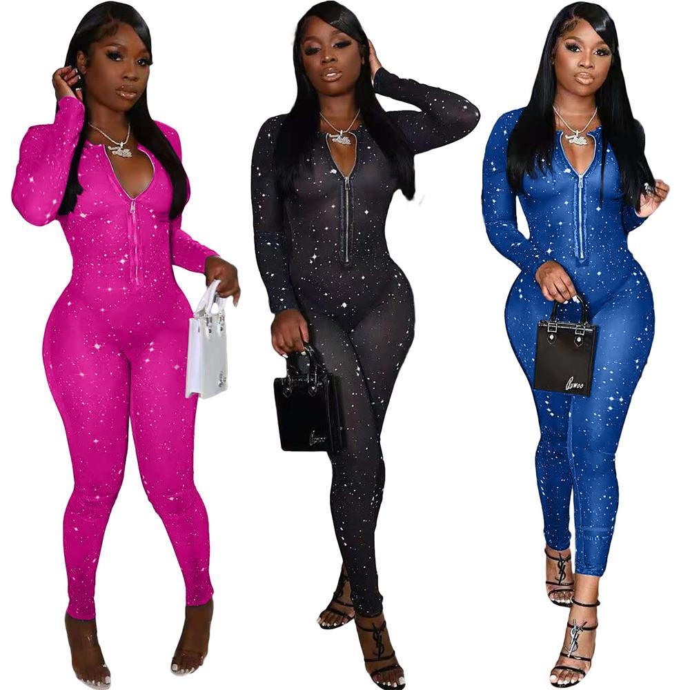 Sheer Mesh Şeffaf Parti Kulübü Romper Seksi Kadınlar Parlak Fermuar Ön Uzun Kollu Tulum Streetwear Midnight Bodycon Kıyafet