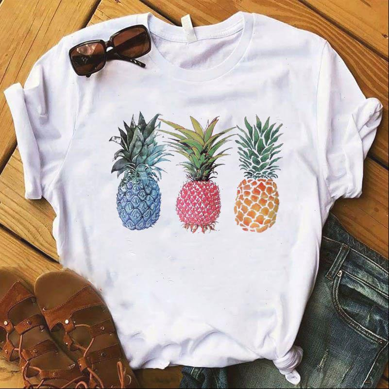 Abacaxi Frutas Roupas Tshirt Moda Tee Feminino Top Novo 2021 Verão Fruta Gráfica T Camiseta Mulheres Kawaii Camisas Mujer Roupas