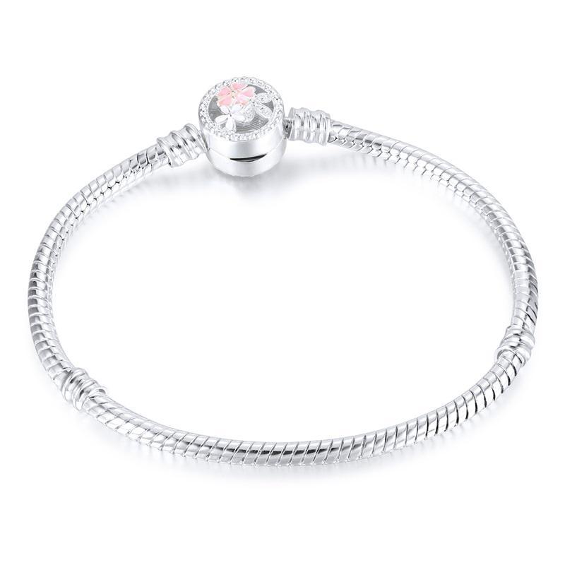 1 ADET Çiçek Gümüş Kaplama Bilezikler Yılan Zincir Fit Charm Boncuk Pandora Bileklik Bileklik Kadınlar Kız Gifts BR010 38 U2