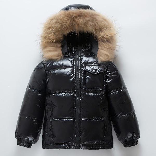 Meninos de jaqueta de crianças e meninas multicoloridas colarinho de pele grossa casaco1