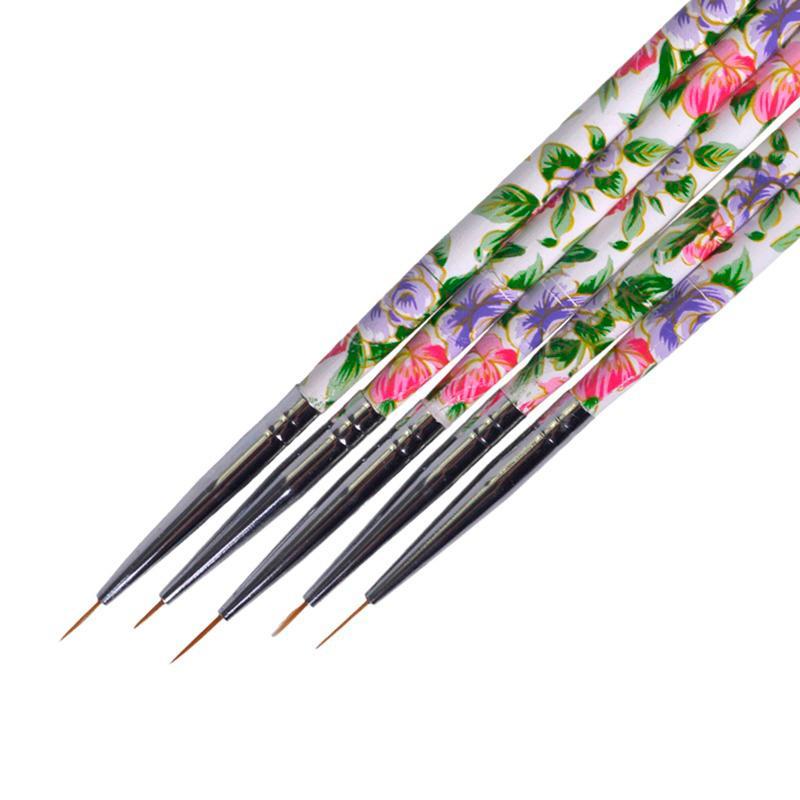 5 ADET Çiçek Güzellik Kolu Nail Art Liner Fırçalar Çizim PAITING Akrilik UV Jel Polonya Çizgili Çizgiler Manikür Tırnak Kalem TR619