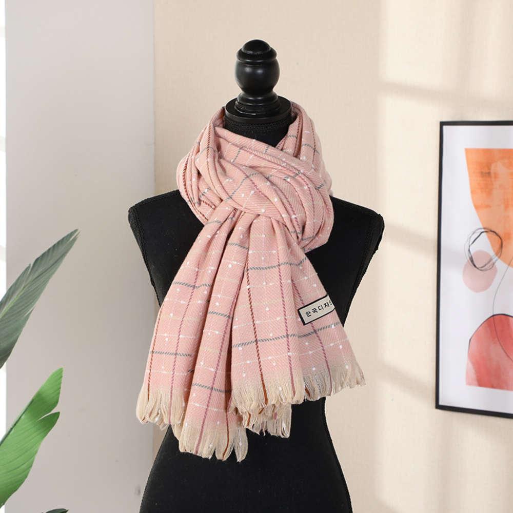Корейский кашемир женская осенью и зимняя плед шарф кисточка шеи утолщение теплой шали
