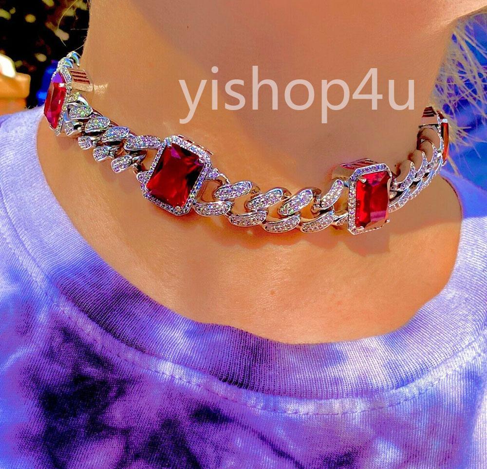 Hombres Mujeres 13mm Miami Cuban Cuba Cadena Red Blue Ruby Necklace 14k DIAMANTES DE ORO BLANCO DIAMANTES MUCHACHA AMIGO REGALO 16InCH-20InCH
