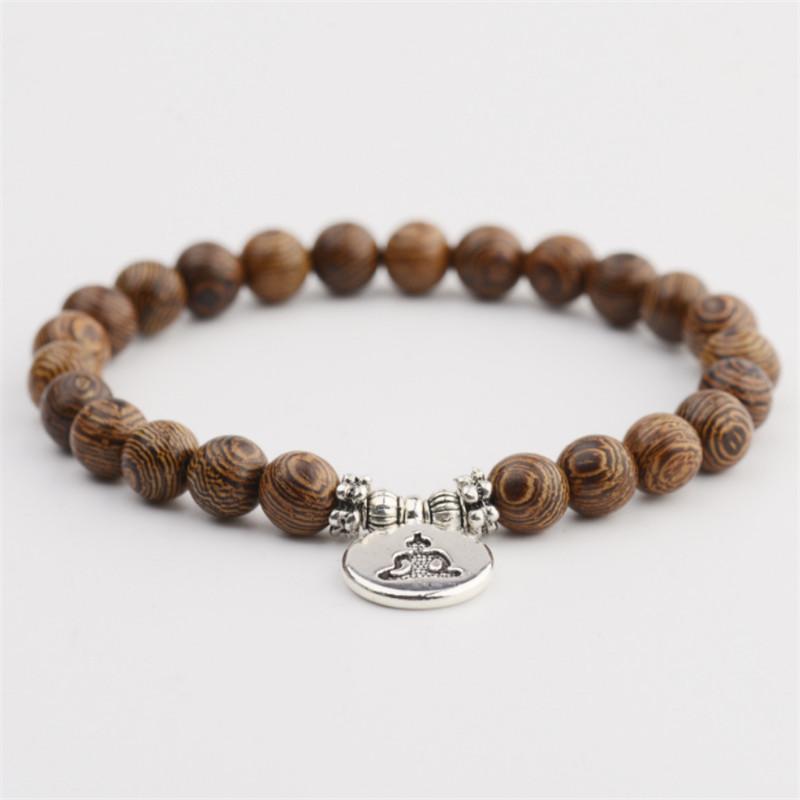 8mm Wenge Wood Perlen Buddha Armband Für Frauen Männer Holz Armbänder Armreifen Trendy Schmuck Geschenke