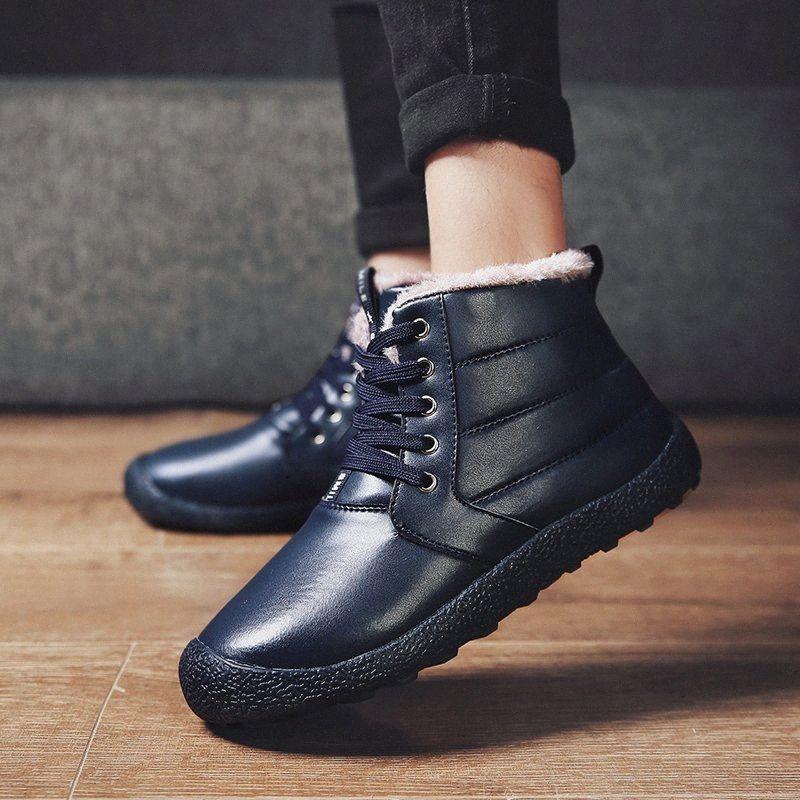 سميكة بو القطيفة الاستمرار الرجال الدافئة أحذية الثلوج مكافحة انزلاق الأحذية الجلدية الرجال مريح الشتاء أحذية الثلوج حذاء دائم j6vq #