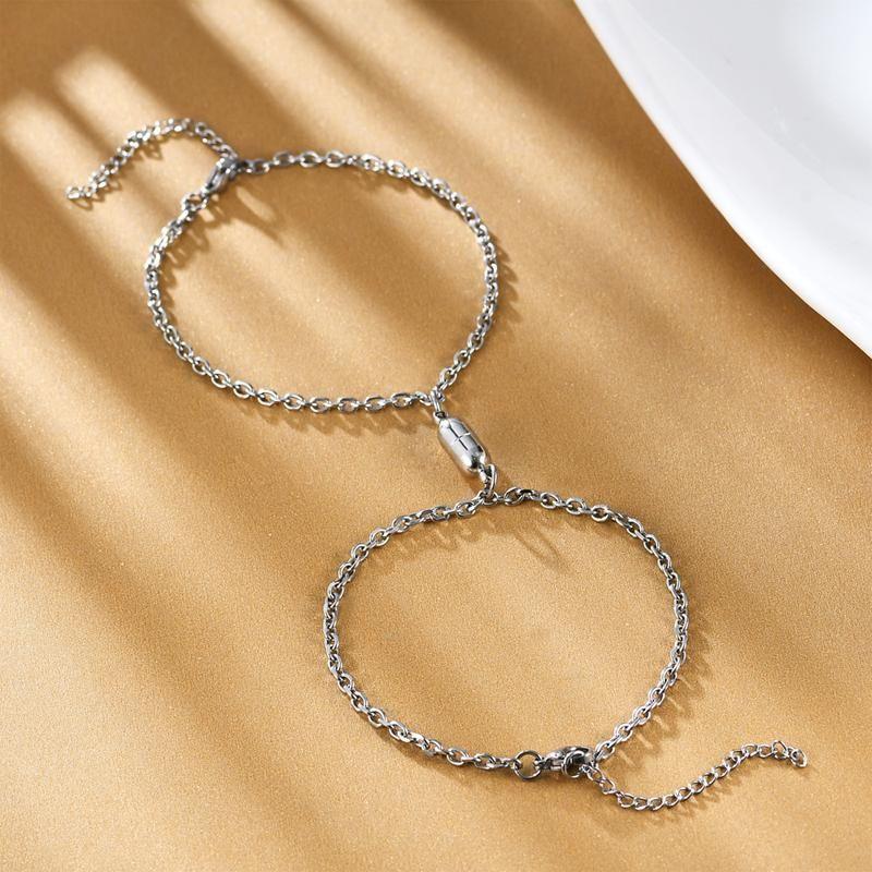 CEILIM 2 ADET / SET Paslanmaz Çelik Manyetik Bilezik Kadın Erkek Link Zinciri Çift Bilezik Valentine 'Gifts Takı