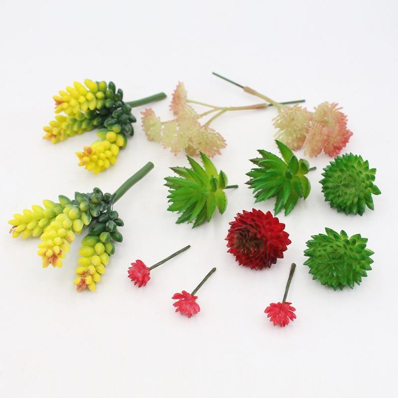 Pantalón suculento artificial Mini suculents Potted Planta Imitación Flores de cabeza Accesorios de flores Flocado Más simulado