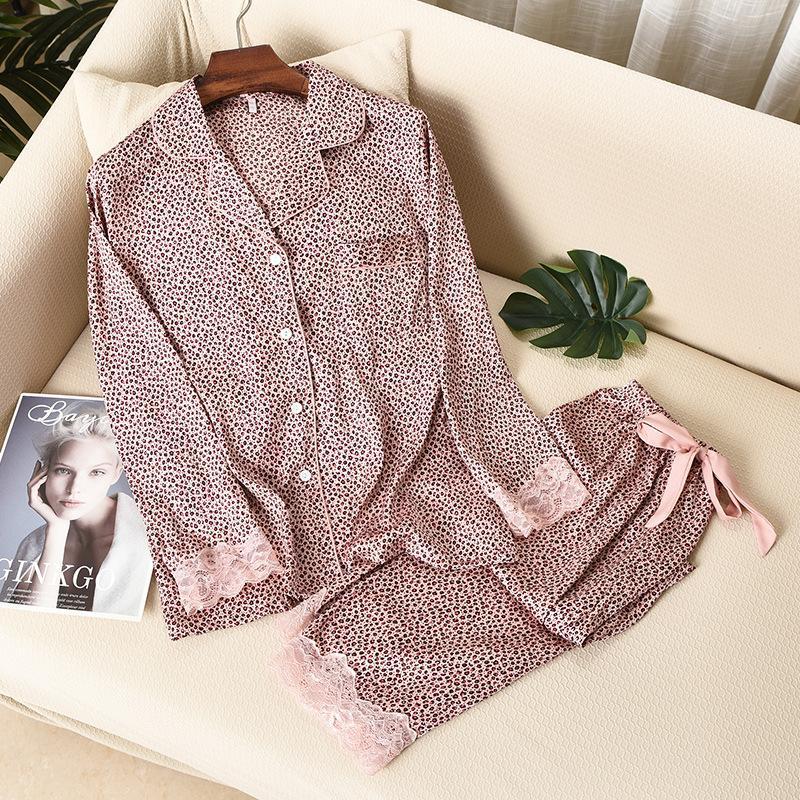 2021 New Satin Women 2 Pieces Faux Silk Pajamas Set Spring Sleepwear Leopard Print Long Sleeve Trousers Homewear 9p0h