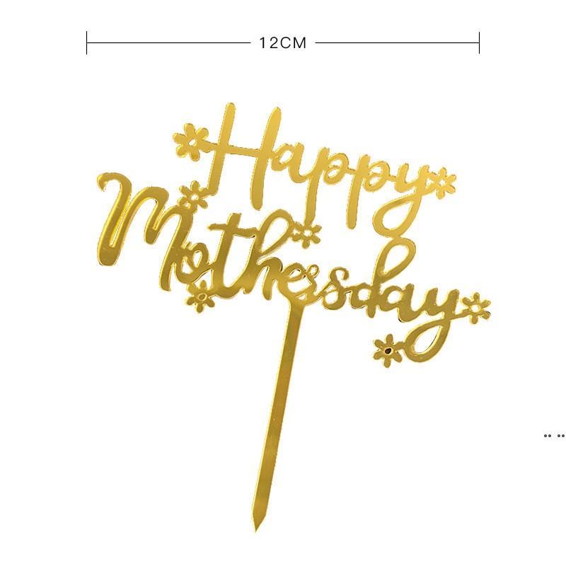 Feliz Día de la Madre Torta Topper Acrílico Rose Oro Mejor Mamá Pastel Topper para Día de la Madre Fiesta de cumpleaños Decoración de pasteles HWD5421