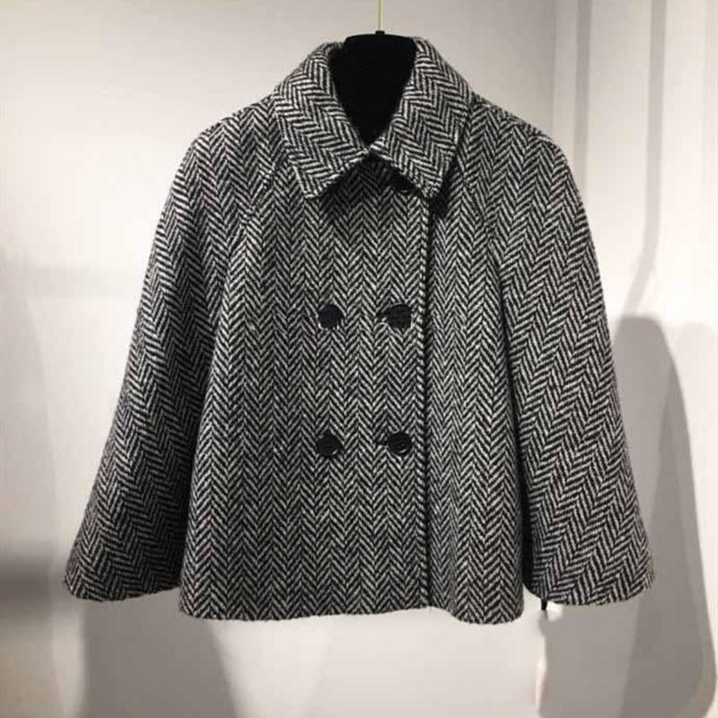2021 двубортный пиджак женские полосы с длинным рукавом с длинным рукавом. Новое пальто FWQ7