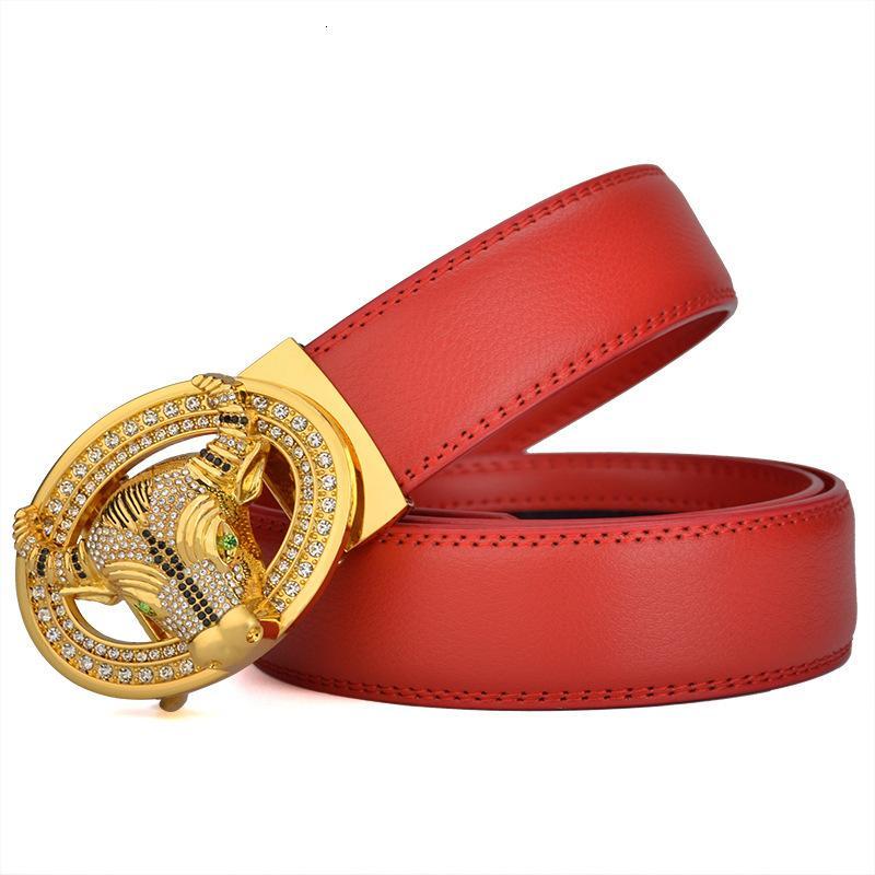 Cinturón blanco rojo de la vida nueva, dos capas de cuero de vaca, ganado automático de hebilla para correr el cinturón