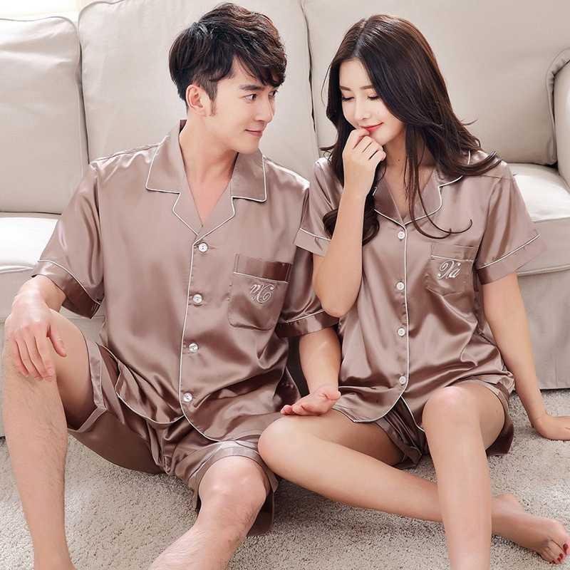 Pajama de luxe Couple Couple Pajama Ensembles Soie Satin Satin Pijamas Sweet Sleepwear Home Costume Pajama Pour les amoureux de l'homme de l'homme Lovers 'Vêtements 210728