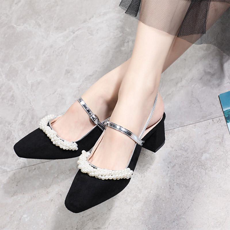 2021 İlkbahar Yaz Kadın Sandalet Mary Janes Elbise Ayakkabı Dize Boncuk Slingbacks Orta Topuklu Pompalar İnciler Mujer 8980n