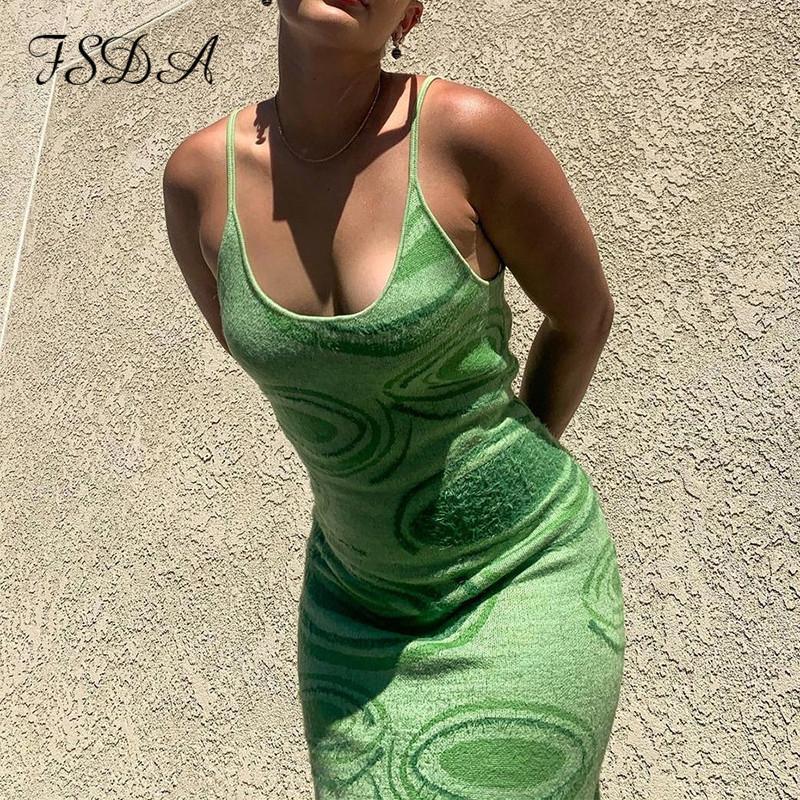 Vestidos casuais fsda 2021 impressão malha bodycon vestido mulheres verde y2k verão oco out sexy sem mangas espaguete cinta praia midi festa