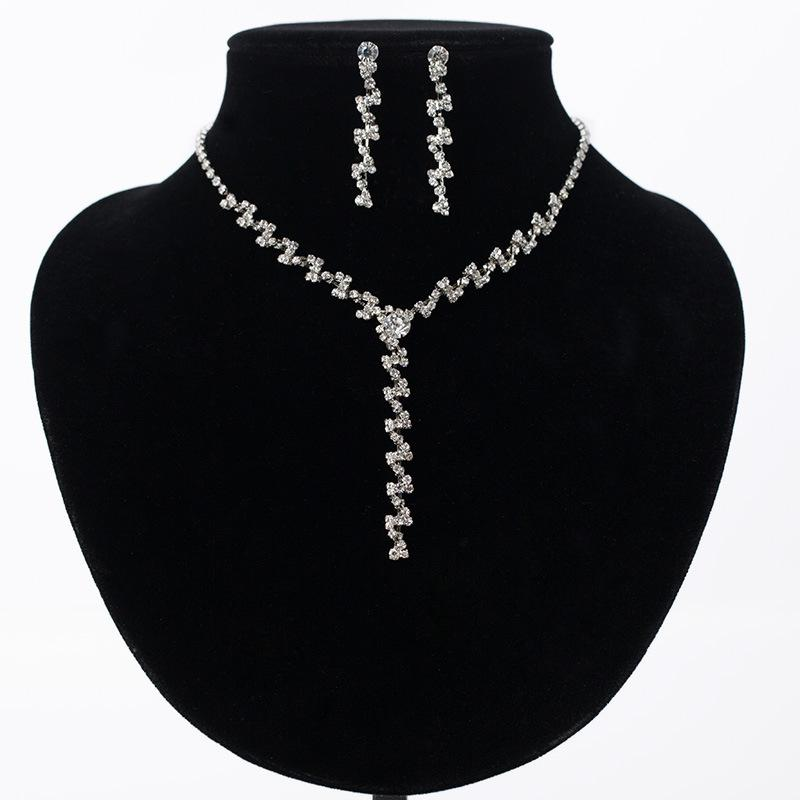 Bling Crystal Bridal Jewelry Set silver plated necklace diamond earrings Wedding jewellery sets for bride Bridesmaid women Accessories