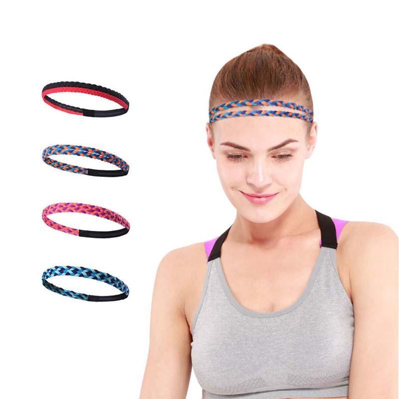 New Women Men Runing Bandas de pelo Tejido Yoga Elástico Sweatband Fitness Sweat Bands Sport Silicone Antidkid Headband 1 PCS