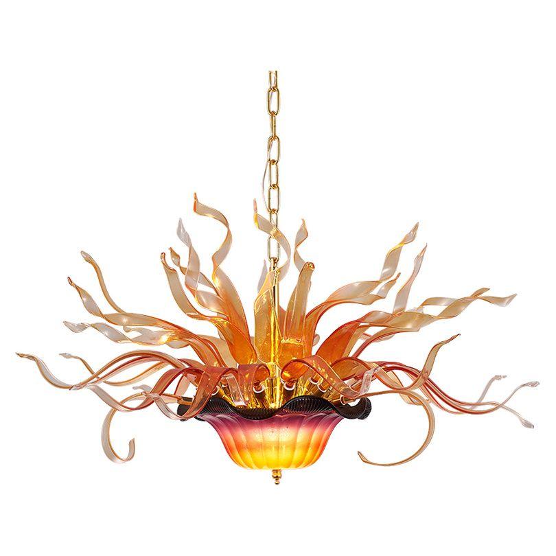 Lambalar lekeli avize led modern kolye ışıkları 32 tarafından 20 inç parlak asılı alev lamba oturma yemek odası cam çiçek ışık villa