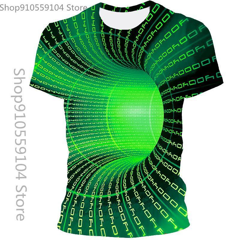 T-shirt da uomo 2021 estate casual moda 3d astratto turbinio t-shirt stampata T-shirt personalizzata Top asiatica taglia 110 / 6XL