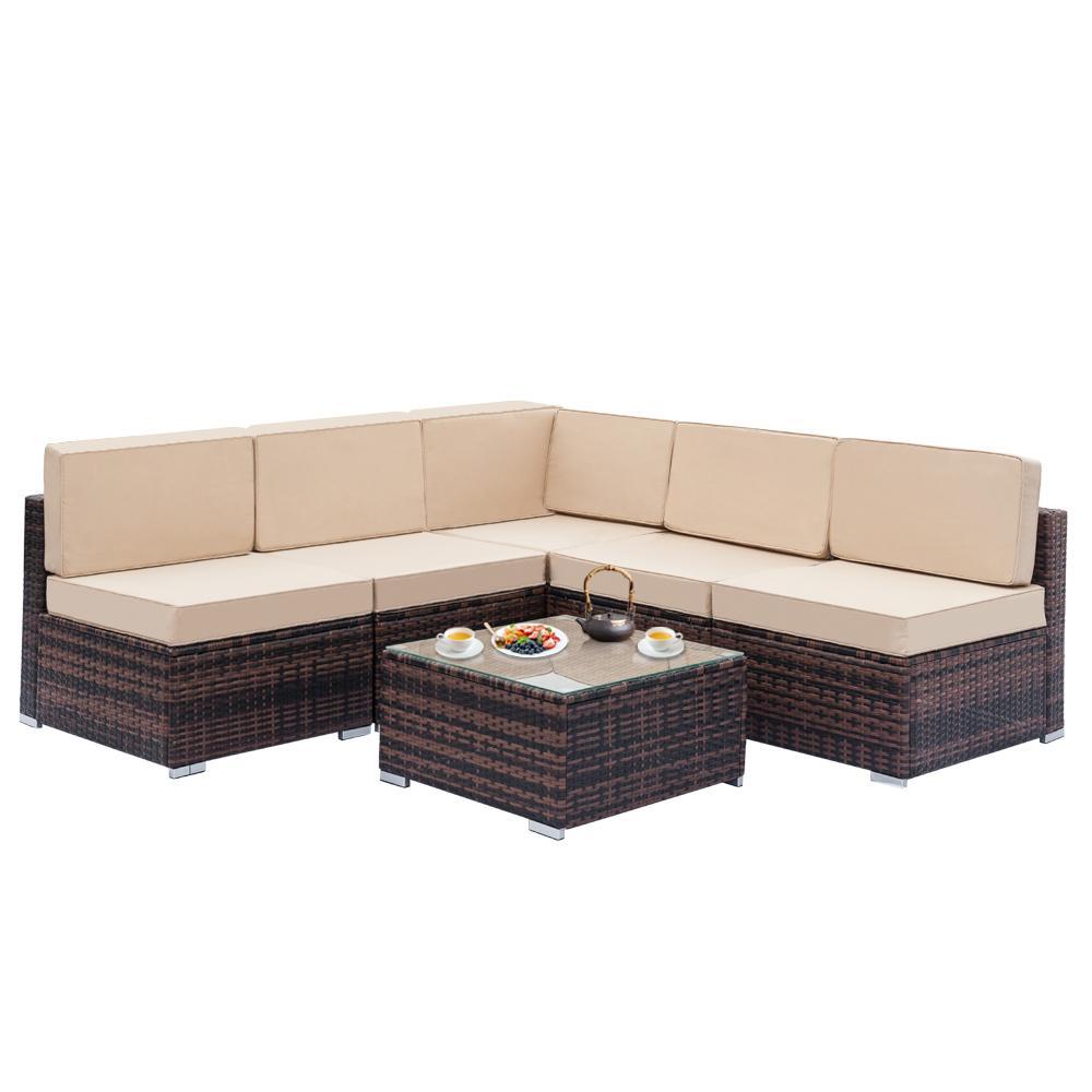 6 pcs rattan canto sofá modular conjunto marrom gradiente pátio terraço sofá de lazer definir-nos em estoque