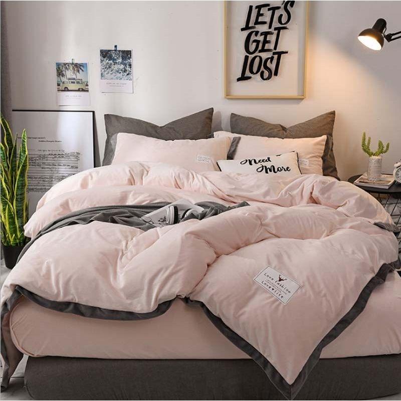 Popular Luxury Crystal Bedding Set Duvet Cover Sheet 4pcs/set Winter Bed Linen King Queen Size Velvet Home Textile