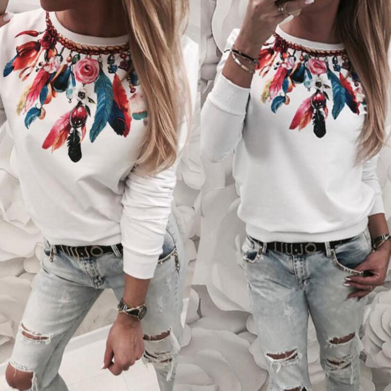 Outono moda impressão flor manga longa top casual novo estilo sexy inverno mulheres camiseta 2019 roupas femininas