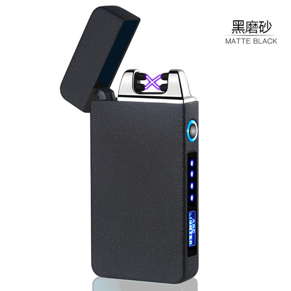 Светодиодный гаджет сатин поверхность ветрозащитные электронные сигареты двойная дуга сигарная плазменная мощность дисплей питания USB зарядки легких и портативных импульсов