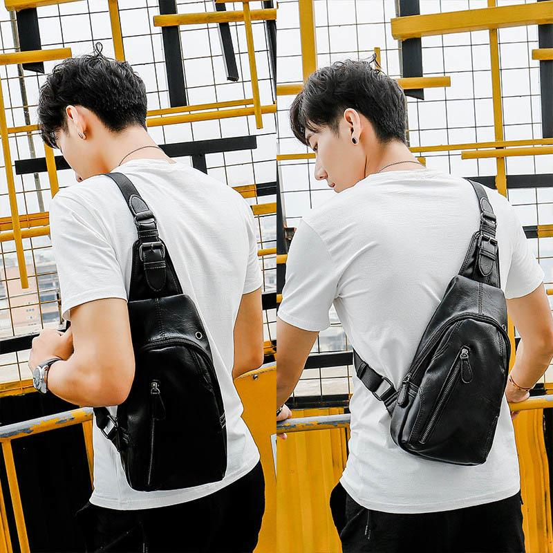 PU leather Men Chest Bag Male Casual Functional Waist Pack Money Phone shoulder bag Outdoor sports Crossbody Bags C176 C0305
