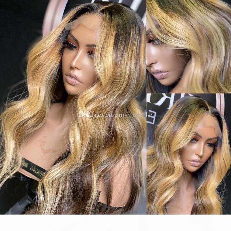 Marrón Rubio Highlight 13x6 Frente de encaje Pelucas de cabello humano Pelucas de cuerpo de cuerpo resaltado Brasileño No Remy Pelucas de encaje de pelo 180% Densidad