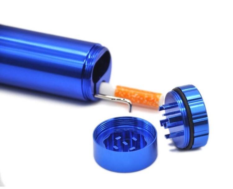 Boîtes de piqûres céramiques Cigarette Ceramic Tuyau Bat Briquet Briquet De Stockage Tabac Grinder Herbal Métal Tout en un 102 * 32 mm Étuis de fumée HWF5411