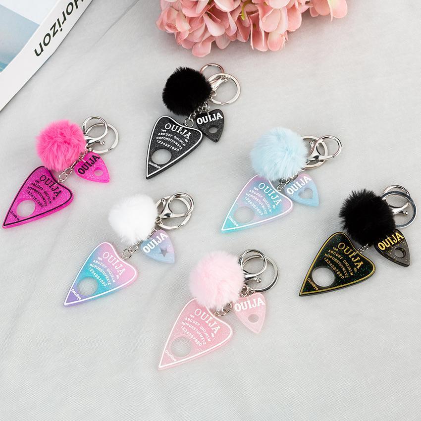 1pc Women Keychain Ouija Planchette Resina Charms Portabicchiere con puffer palla Punk Board Artigianato Y0306