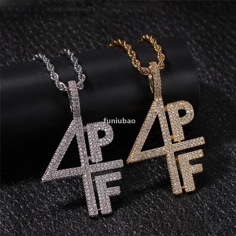 Erkek Altın Gümüş Kaplama Kolye Buzlu Out Elmas 4 PF Kolye Chainslab Mektup Numarası Paslanmaz Çelik Hip Hop Bling Zincirleri Takı