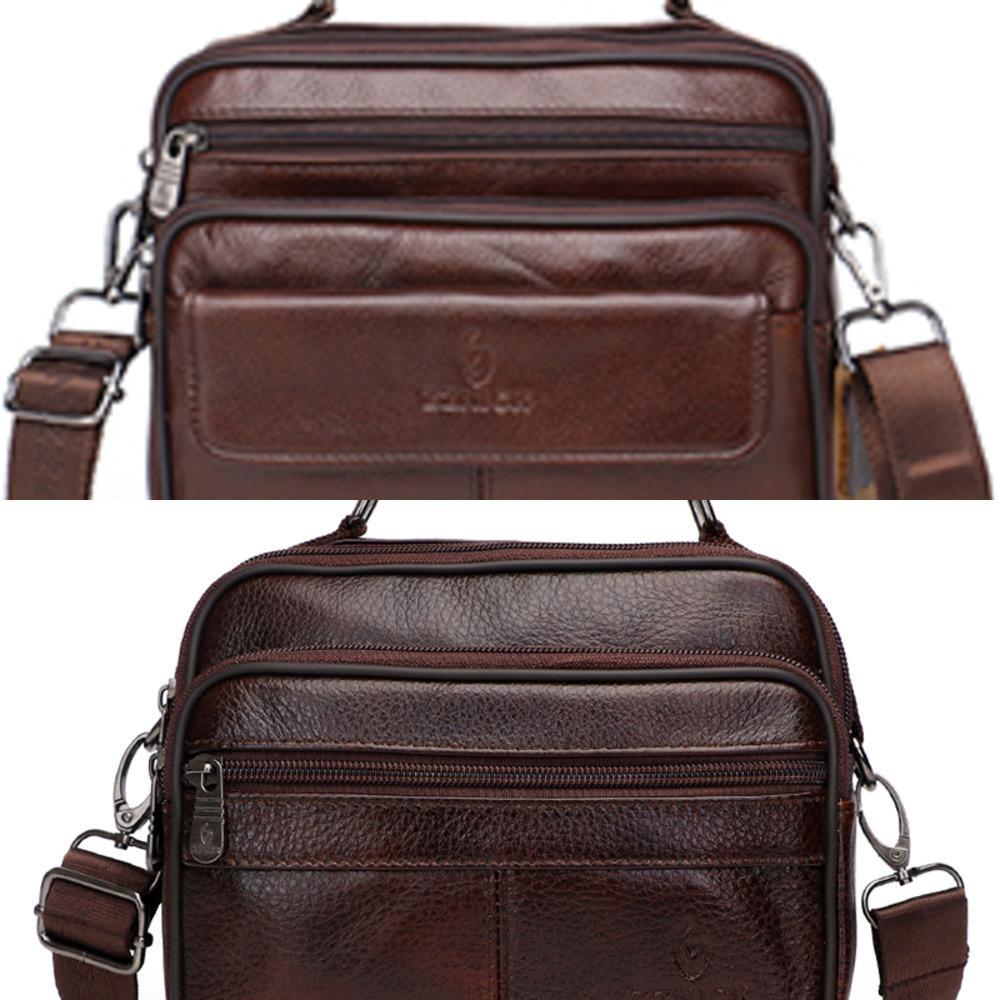 Men's Genuine Leather Bag Messenger Bag CrossBody Bags Shoulder Handbag Male Luxury Handbags 2019 Fashion Flap Pocket KSK C0224