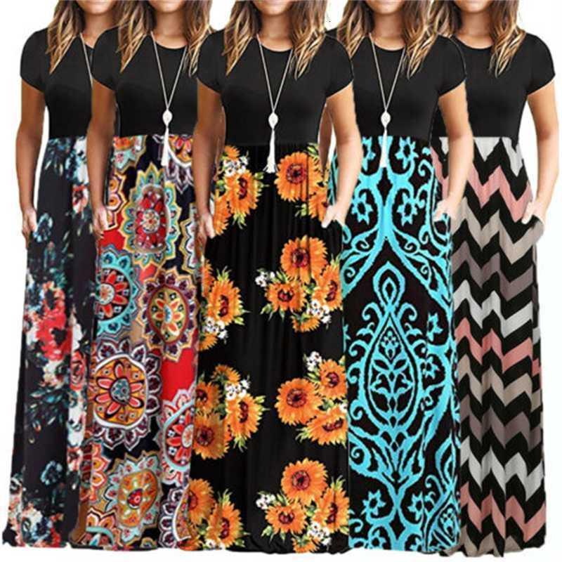 Продают как Hot Carts Прибытие 2019 Женская цветочная напечатанная с коротким рукавом Boho повседневная длинная Maxi Split Party Beach Sun Clubwear