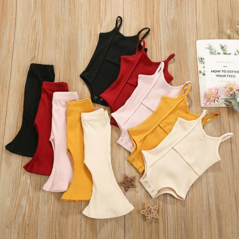 Baby Girl Clothes Children Suspender Tops Flared Pants 2pcs Sets Sleeveless Toddler Girls Outfits Boutique Baby Clothing 5 Colors