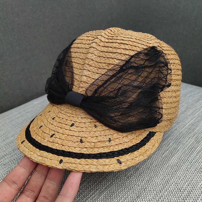 Parasole per bambini paglia francese elegante pizzo pizzo lafite cappello equestrian cappello netto rosso crema solare protezione solare marea