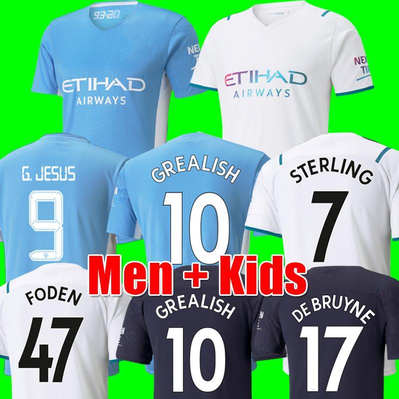 Fãs Player Versão Camisolas de futebol de Manchester 21 22 HOMEM GREALISH CITY STERLING FERRAN DE BRUYNE FODEN 2021 2022 camisas de futebol masculino + infantil conjuntos uniformes