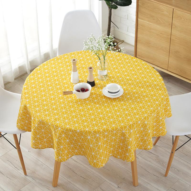 코튼 린넨 북유럽 라운드 식탁보 색깔 줄무늬 크리스마스 트리 패턴 덮개 빨 수있는 테이블 천을 차