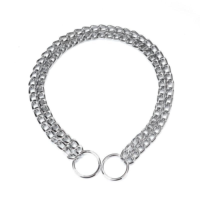 Dog Collars & Leashes Medium And Large Collar Chain Training Competition Double Row P Chrome Necklace Stainless Steel Pet