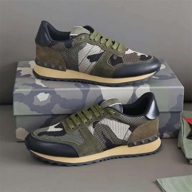Erkek Tasarımcı RockRunner Kamuflaj Sneakers Lüks Süet Dantel Up Deri Flats Açık Rahat Ayakkabılar Runner Eğitmenler Hediye Ile Lesliecheung