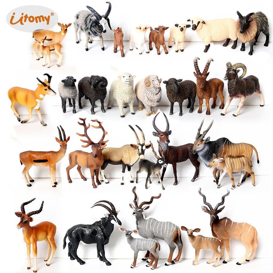 Реалистичные дикие животные Куду, антилопа, овцы мериноса, коза, лось, модель орйкс фигурки образовательный коллектор фигур детские игрушки C0220