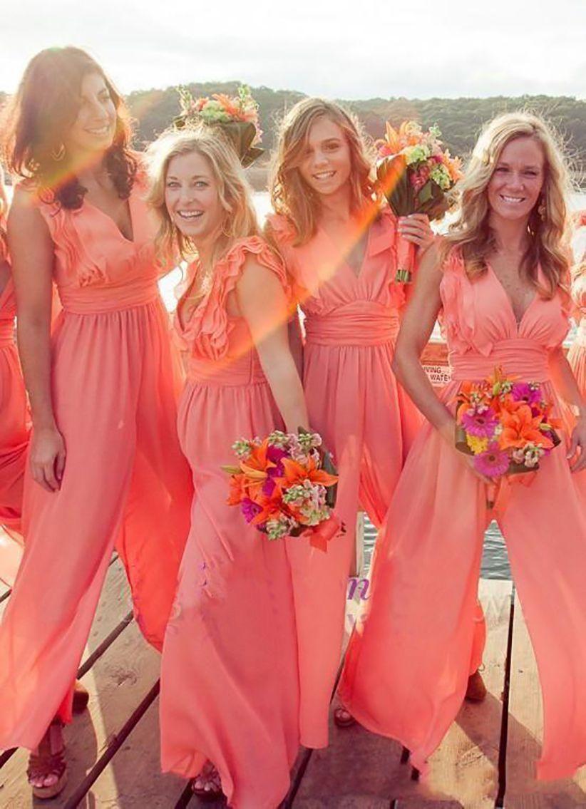 2021 جديد وصول شيك الشيفون رخيصة المرجان العروسة فساتين طويلة حللا طويل الرقبة زائد حجم شاطئ الزفاف ضيف اللباس حفلة موسيقية فساتين